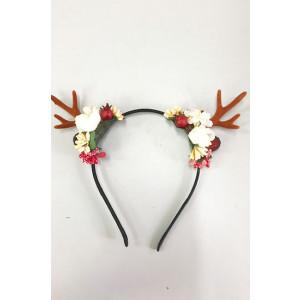 קשת איילה מתכת עם פרחים