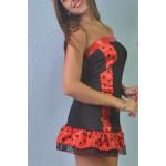 שמלת מיני בשילוב אדום שחור השכרה