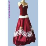 שמלה מלכותית בורדו עם כתפיות